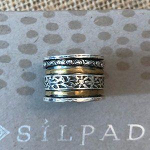 Silpada sterling silver & brass meditation/spinner/twirl ring size 10 (R2293)